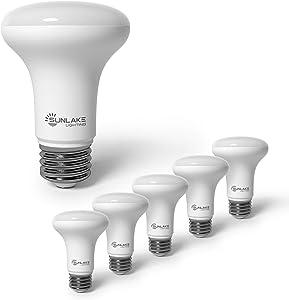 SunLake Lighting 6 Pack BR20 LED Bulb, 6W=50W, Dimmable, 5000K Daylight, E26 Base, Energy Efficient LED Flood Light Bulbs for Home, Ceiling Fan or Office Space - UL & Energy Star