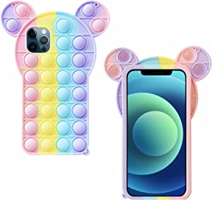 Fidget Toy Case for iPhone 7/8/SE 2020 - Pop Bubble Protecive Phone Case with Anti-Anxiety Push Bubble Silicone Rubber & Shockproof Protecive for iPhone 7/8/SE 2020(Rainbow)