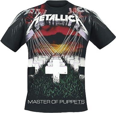 Metallica Master of Puppets - Faded Allover Hombre Camiseta Negro, [Effekte/Besonderheiten] + Regular: Amazon.es: Ropa y accesorios