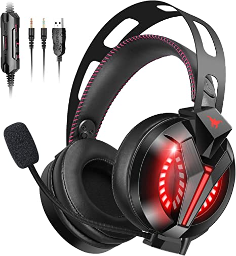 ONIKUMA K5 Stereo LED Gaming Headset Surround Headphone Mic for PS4 Xbox One PC
