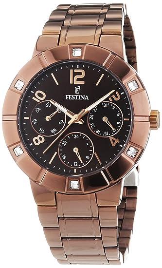 Festina - Reloj de cuarzo para mujer, correa de acero inoxidable chapado color marrón: Festina: Amazon.es: Relojes
