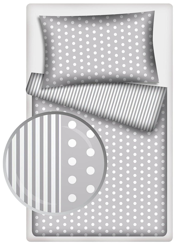 Kinderbettw/äsche Stars 2-tlg 100/% Baumwolle 40x60 grau 100x135 cm mit Rei/ßverschluss