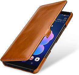 StilGut Housse pour HTC U12+ Book Type en Cuir véritable à Ouverture latérale, Cognac avec Clip