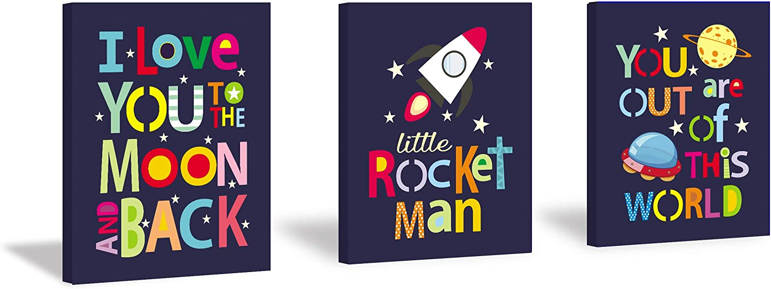 HPNIUB Framed Outer Space Wall Art Print Stars Rocket & Planet Painting Set of 3 Pieces (11.8 x 15.6 inch) Canvas Space Quotes I Love You Pictures Wooden Framed Ready to Hang for Nursery Kids Bedroom Decor