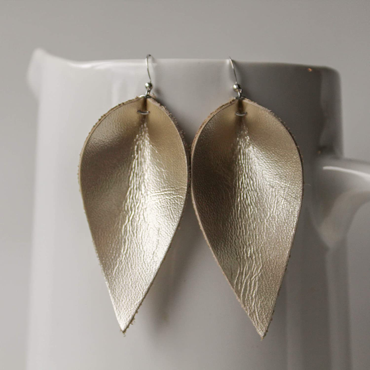 Genuine Leather & Sterling Silver Leaf Earrings // Gold Leather // Joanna Gaines Inspired // Lightweight Statement Earrings