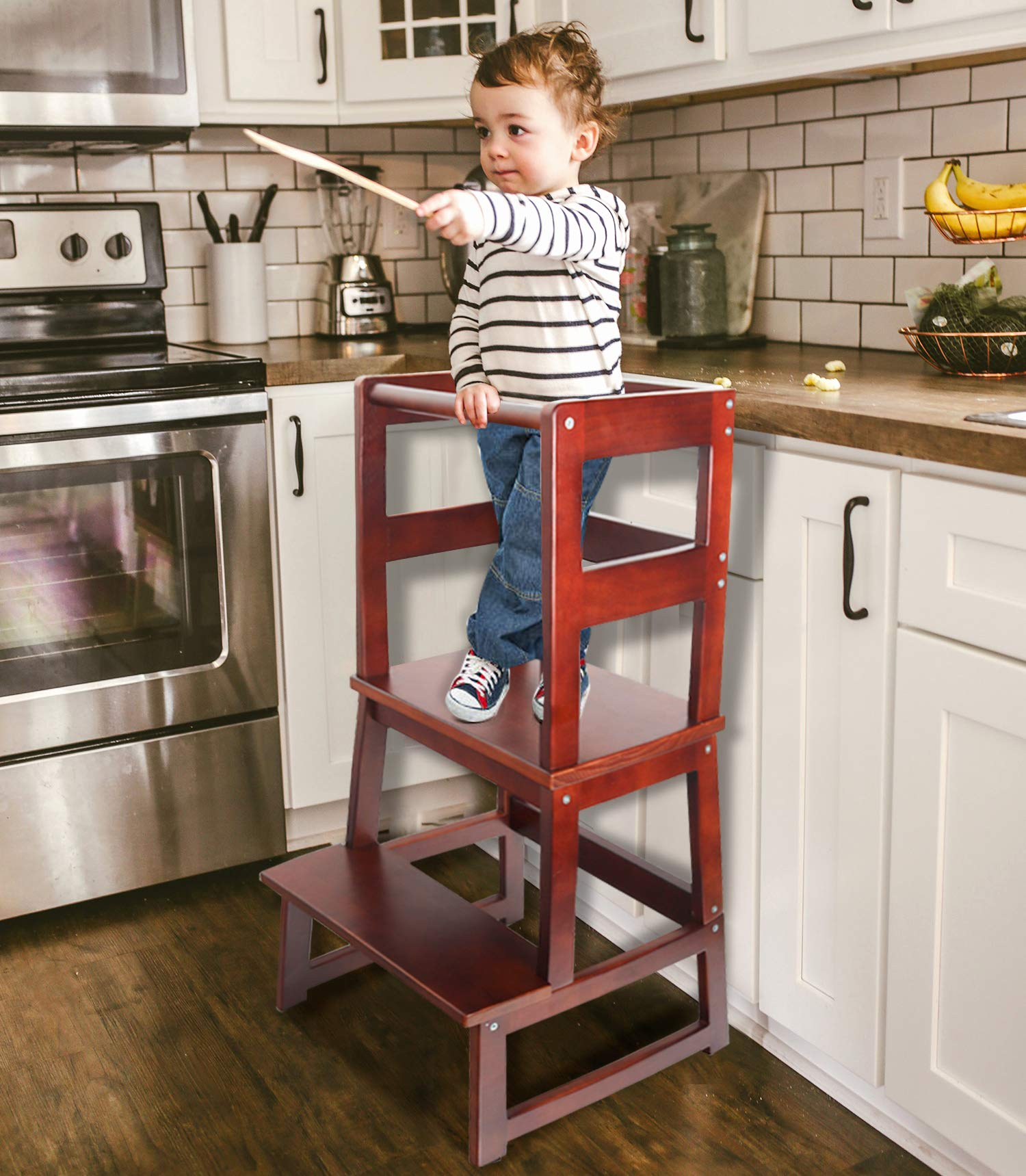 WishaLife Kids Step Stool, Toddler Step Stool, Learning Tower, Kitchen Helper Stool with Safety Rail CPSC Certified - for Toddlers 18 Months and Older(Walnut Color)