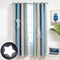 Hughapy Star Curtains Stars Blackout Curtains for Kids Girls Bedroom Living Room Colorful Double Layer Star Cut Out Stripe Window Curtains, 1 Panel (42W x 63L, Blue / Yellow)