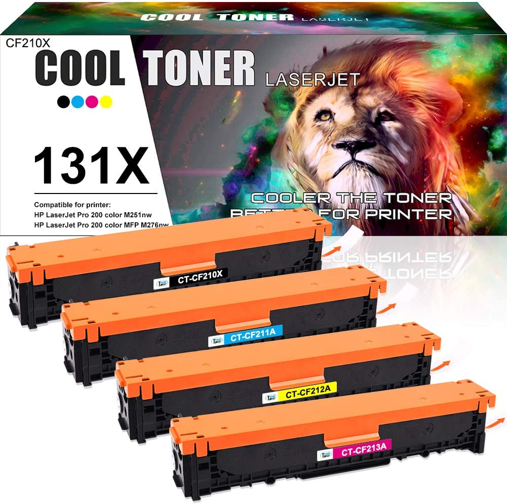 Cool Toner Compatible Toner Cartridge Replacement for HP 131A CF210A 131X CF210X Laserjet Pro 200 Color MFP M276nw M276n M251nw Pro 200 M251n M251 M276 CF211A CF212A CF213A Toner Printer Ink 4-Pack