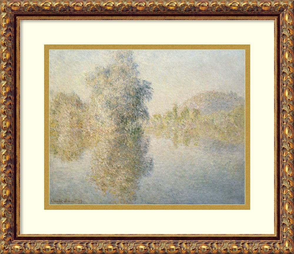 アートフレーム印刷' Early Morning On The Seine at Giverny , 1893 ' byクロードモネ Size: 18 x 15 (Approx), Matted グレー 3847264 Size: 18 x 15 (Approx), Matted Antique Bronze,mat:white B01LAGQK4W