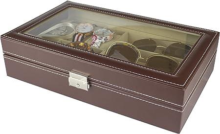 PAIDE P Caja para relojes - Estuche para relojes con 9 compartimentos - Organizador de relojes y joyas (Marrón): Amazon.es: Hogar