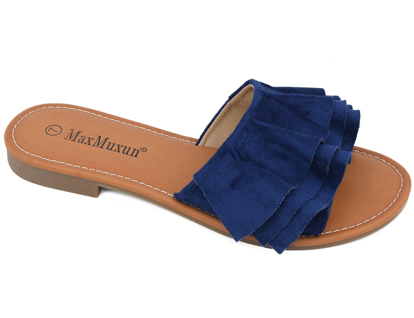 MaxMuxun Blue Women Shoes Suede Ruffle Flat Sandals