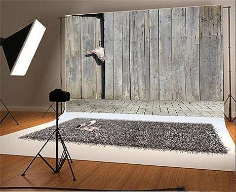YongFoto 3x2m Telón de Fondo Cabra Curioso Que Mira A Escondidas A Través Puerta Cobertizo Madera