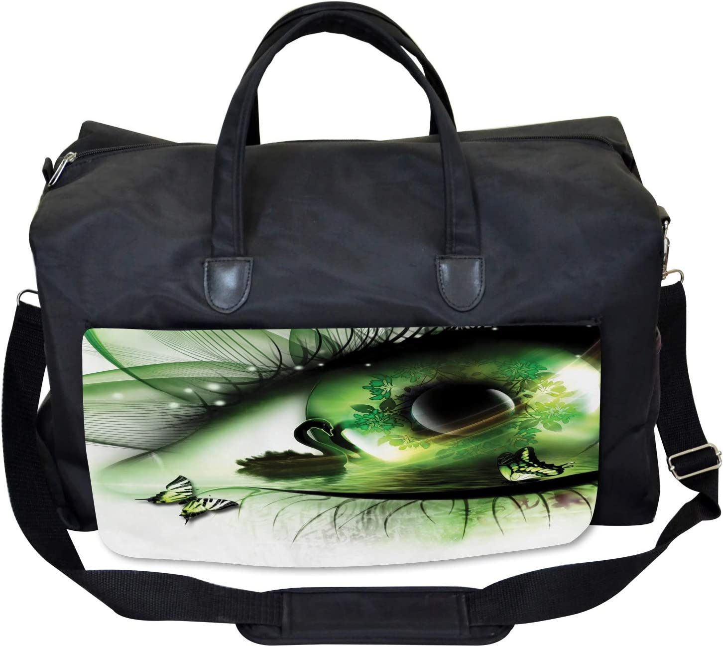 Ambesonne Abstract Gym Bag Large Weekender Carry-on Abstract Swan Animal