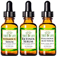 Anti Aging Serum 3-Pack for Face - Vitamin C Serum, Retinol Serum, Hyaluronic Acid...