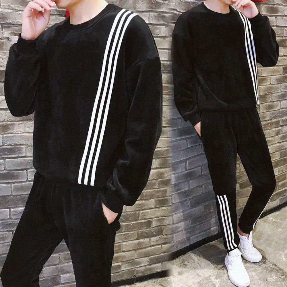 Super color Men 2 Pieces Jacket /& Pants Fleece Elastic Waist Sweatpants Joggers Athletic Workout Running Wear