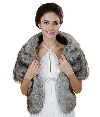 Aukmla Womens Wedding Fur Shawls and Wraps Bridal Fur Stole and