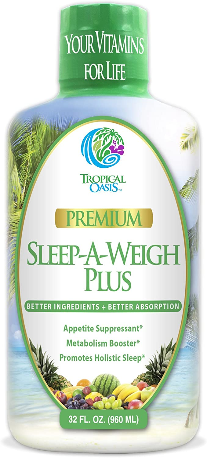 Sleep-A-Weigh Plus | Liquid Sleep Multimineral | Natural Sleep, Stress & Weight Loss Aid | w/Collagen, L-Carnitine, L-Lysine, Tonalin CLA, Apple Cider Vinegar, 5-HTP, Vitamins | Non-GMO | 32 Serv: Tropical Oasis: Health & Personal Care