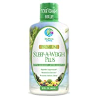 Sleep-A-Weigh Plus | Liquid Sleep Multimineral | Natural Sleep, Stress & Weight Loss Aid | w/Collagen, L-Carnitine, L-Lysine, Tonalin CLA, Apple Cider Vinegar, 5-HTP, Vitamins | Non-GMO | 32 Serv