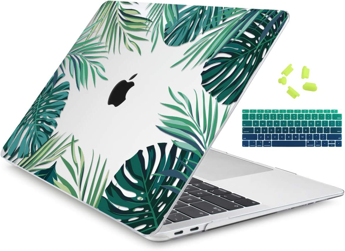 "Dongke Newest MacBook Air 13 Inch Case 2020 2019 2018 Release Model: A2179/A1932, Crystal Clear Hard Shell Cover for MacBook Air 13"" with Retina Display & Touch ID (Tropical Leaf)"