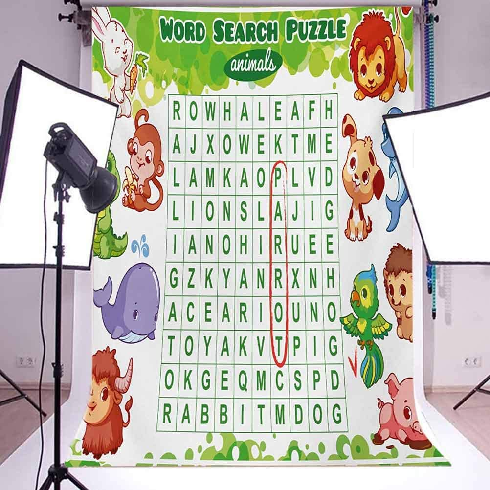 Word Search Puzzle 10x12 FT Backdrop Photographers,Educational Game for Kids Children Cute Sweet Animals Worksheet Print Background for Party Home Decor Outdoorsy Theme Vinyl Shoot Props Multicolor