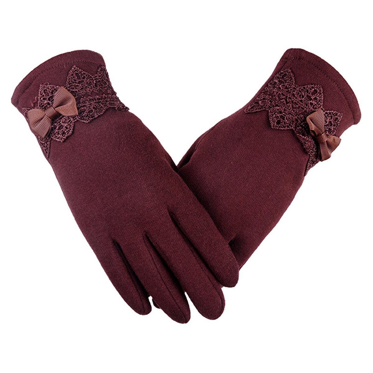 DSUK Donna Invernali Guanti Touch con Pulsanti Eleganti Smartphone Antivento Ciclismo Gloves Mittens