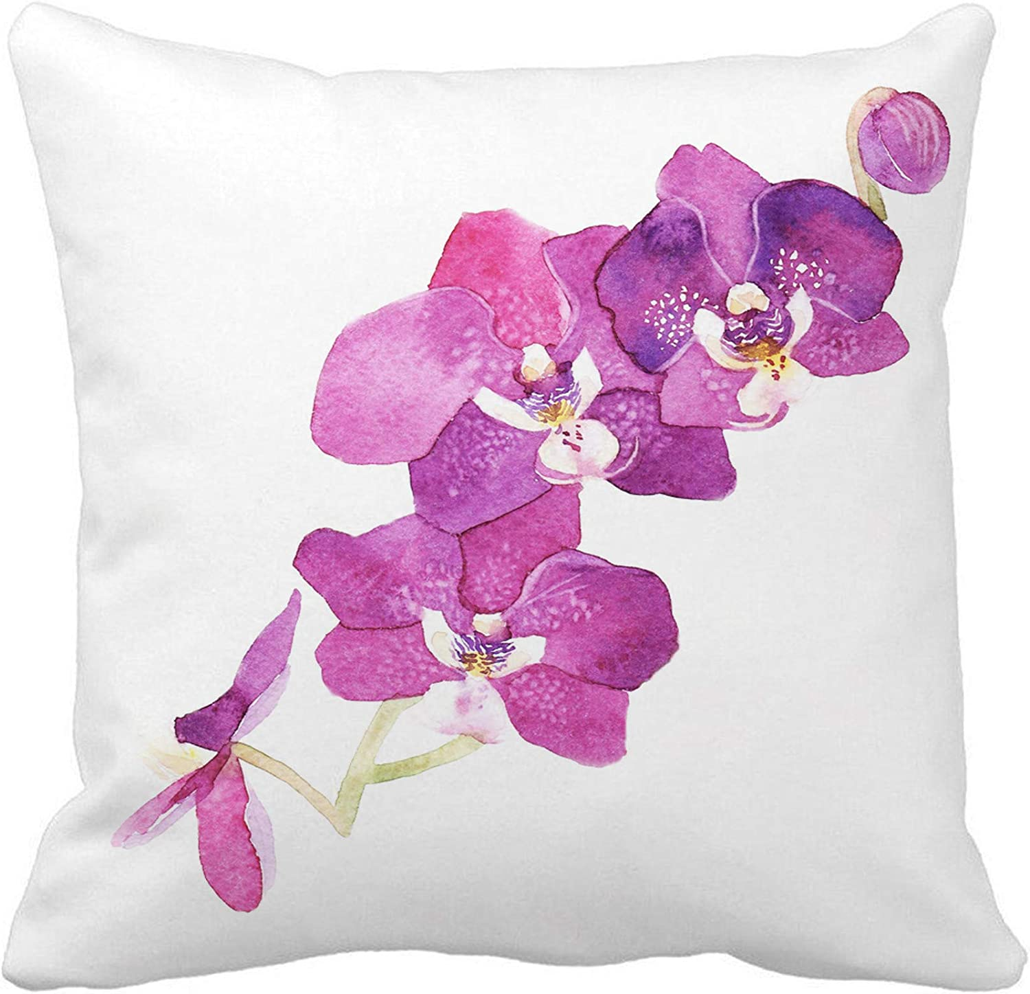 Amazon Com Awowee Throw Pillow Cover Colorful Floral Watercolor Purple Orchid Flower Green Tropical Abstract 18x18 Inches Pillowcase Home Decorative Square Pillow Case Cushion Cover Home Kitchen