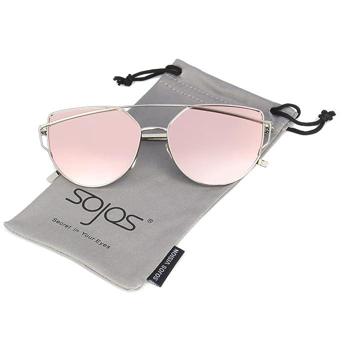 SojoS Mode twin-beams Metallique gafas de sol mujer & # x152; il de gato miroité vasos plana Lente Street Fashion Cateye Women Sunglasses sj1001
