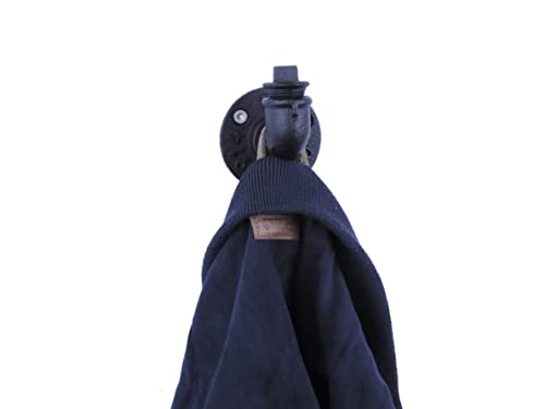 4x Kleiderhaken Schwarz Anthrazit,Metall Industrial Design stabil Handtuchhaken
