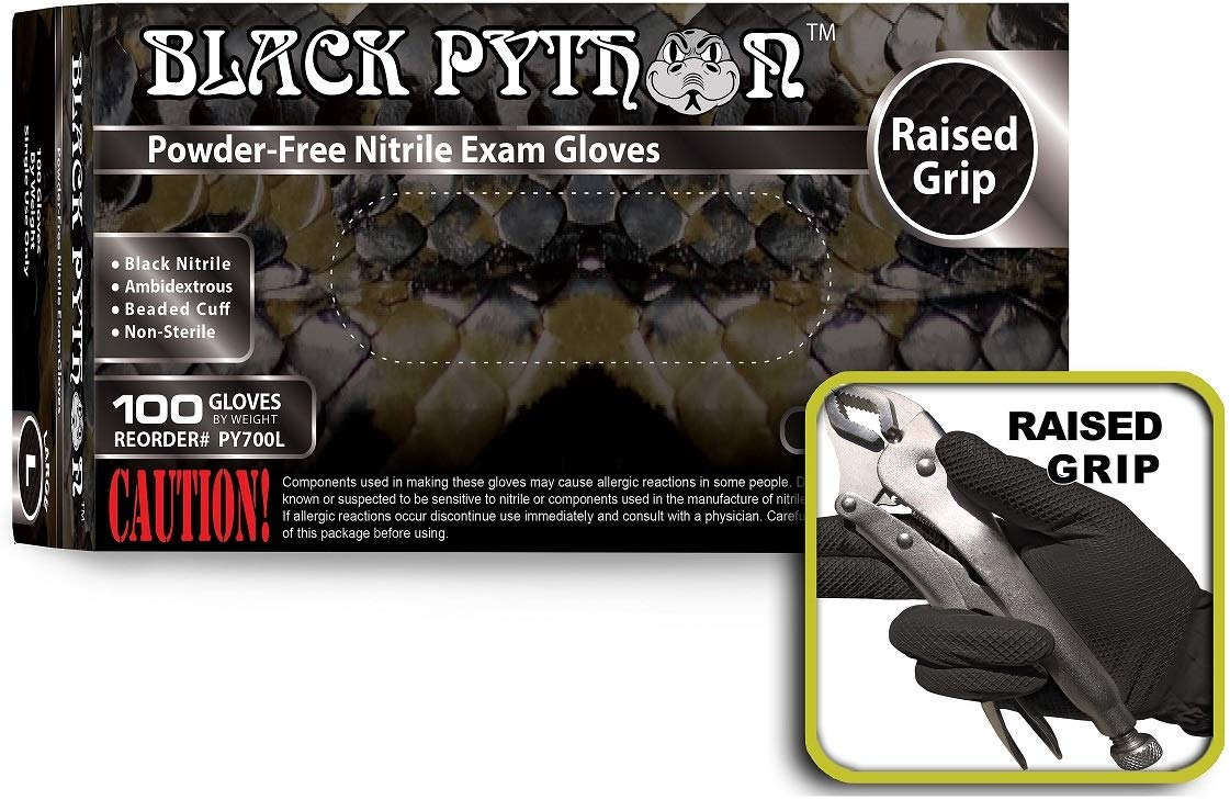 Black Python 7 Mil Thick Heavy Duty Powder Free Nitrile Exam Gloves w/Tactical Grip, (Large (Case of 1000)) by BLACK PYTHON