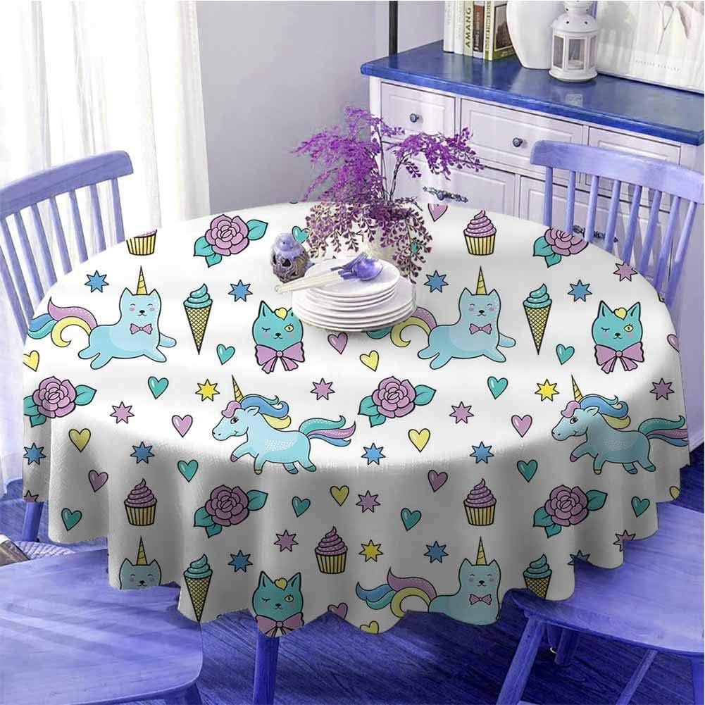 Unicornio gato multicolor mesa redonda patrón niñas con corazones estrellas flores helado lindo divertido secado rápido diámetro 43 pulgadas azul claro lavanda amarillo