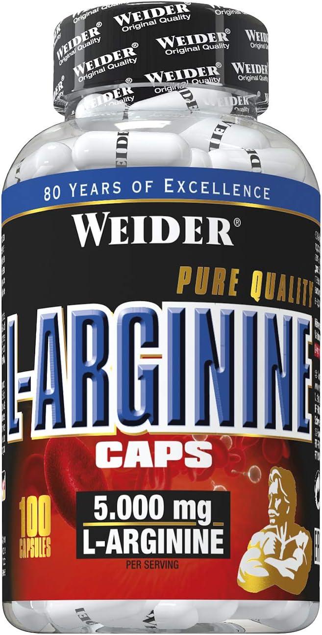 Weider L-Arginina Pura. Desarrollo de masa muscular libre de grasa. Favorece la recuperación post-entreno (100 Cápsulas - 1 g de L-Arginina por ...