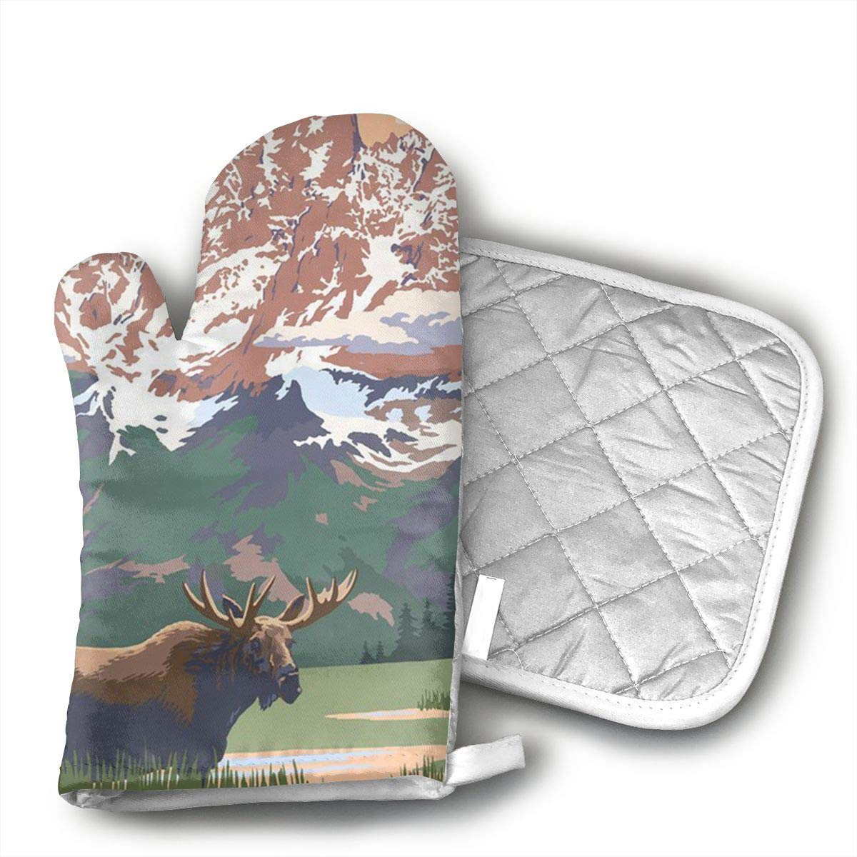 UFKEOJ Grand Teton National Park - Moose and Mountains Oven Mitts,BBQ Microwave Baking Protective Glove and Hot Pot Heatproof Mat Set,Cotton, Machine Washable