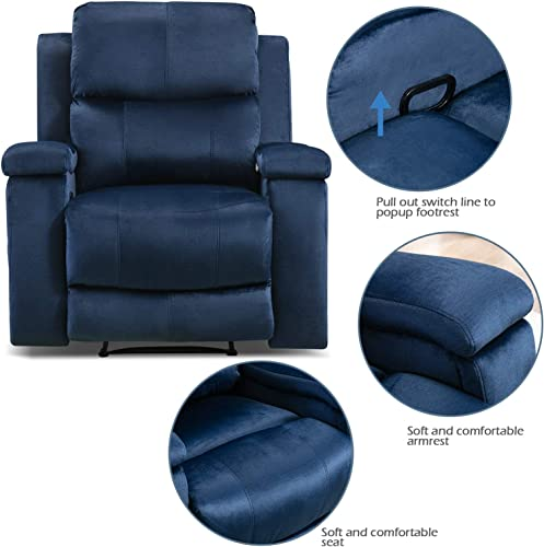 ANJ Recliner Chair with Pullable Cup Holders, Soft Microfiber Plush Modern Reclining Chair for Living Room Single Sofa Home Theater Seating Blue