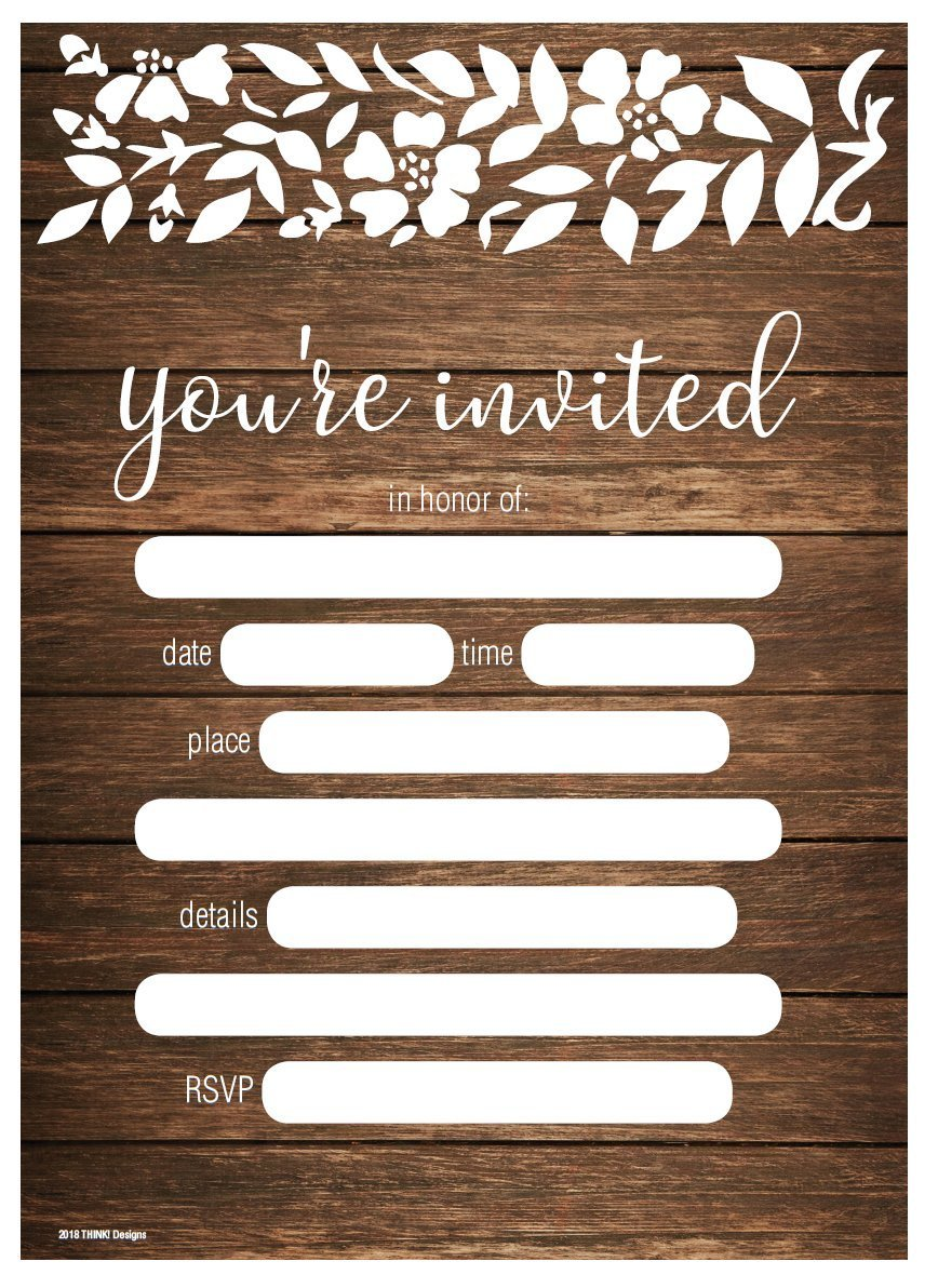 Wedding Invitations 5x7 50ct You're Invited Rustic Country Wood Floral Lace Fill in Party Invitation Any Occasions Bridal Shower Baby Rehearsal Dinner Birthday Party Anniversary Card Invites