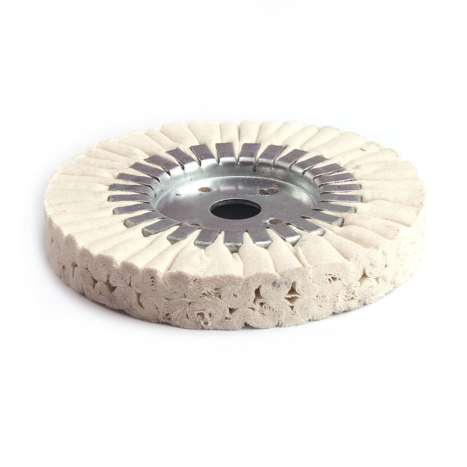 Si Fang 6-Inch Cotton Airway Buffing Wheel White Arbor Center Hole 25mm ,24Ply, for Auto Detail Step (1Pcs)