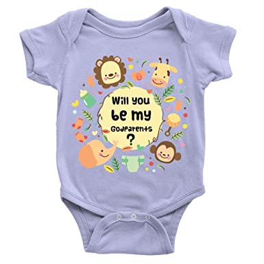 a51fd47e1 Be My Godparents Babygrow Announcement Question Animals Body Suit:  Amazon.co.uk: Clothing