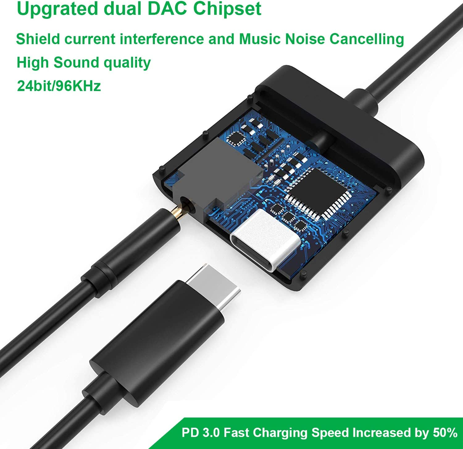 ZJSM 2 in 1 Type C to 3.5mm Aux Extension Cable PD Fast Charging for Pixel 3//2//XL Essential Phone and More-Support DAC and Hi-Res Audio USB C to 3.5mm Headphone Jack Adapter HTC U11//U12 Silver
