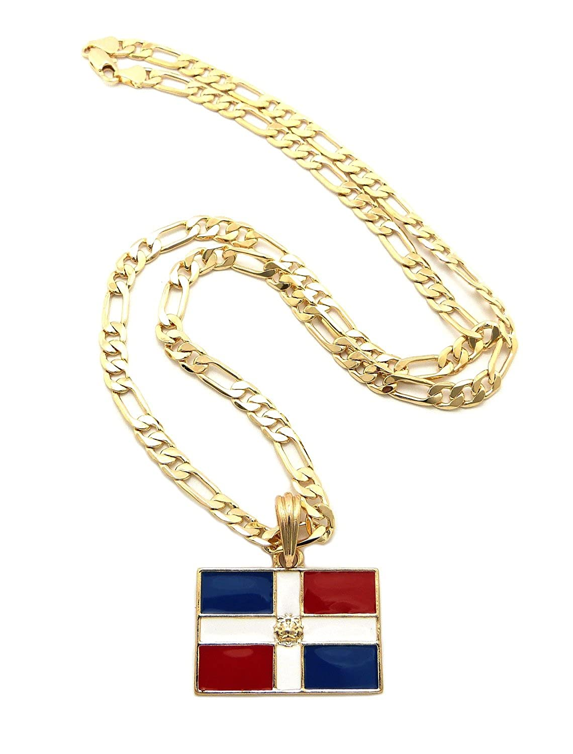 dominican republic flag pendant with 5mm 24