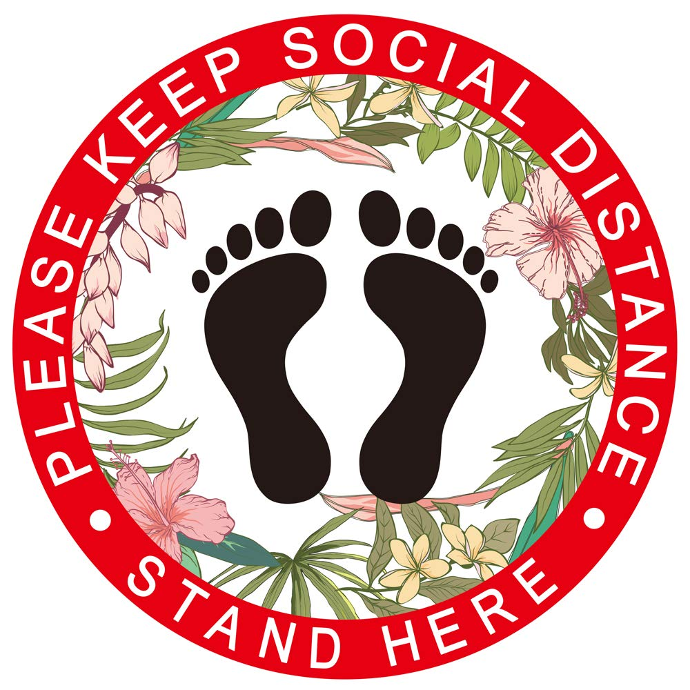Please Keep 6 Feet Apart Social Distancing Floor Decals -Round Removable Floor Stickers 10 Pack Safety Floor Signs Waterproof Adhesive Anti-Slip Easy to Clean- Signals Markers Color, 7.8 Inch
