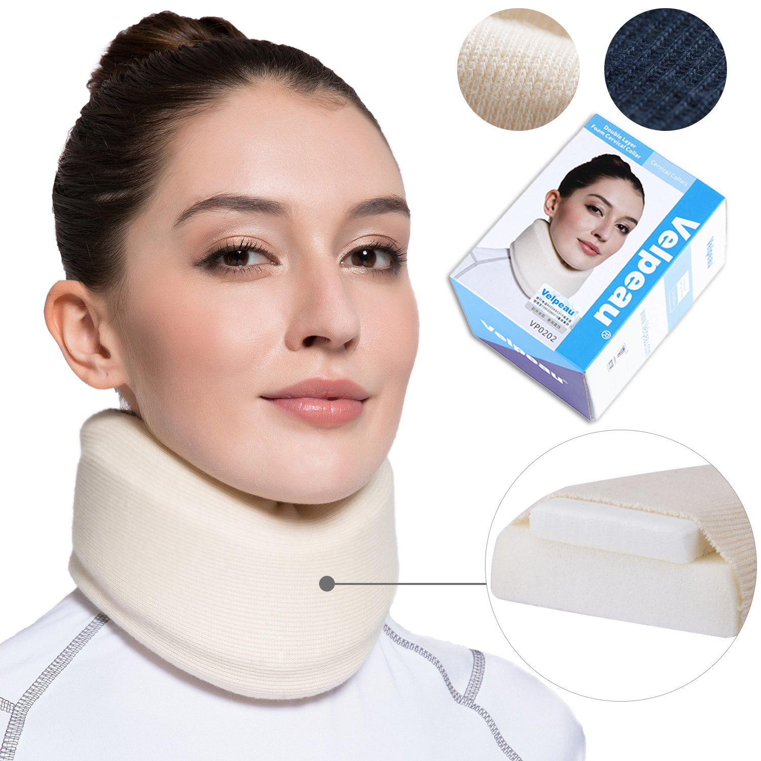 Neck Brace - Soft Cervical Collar - Double Layer Composite Moderate Support for Vertebrae for Neck Pain - Can Be Used During Sleeping, Travel, Airplane, Working (Milk-White, Medium)