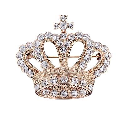 Nice Neevas Silver/Gold Plated Rhinestone Crystal Crown Brooch Pin Wedding/Bridal /Party Gift