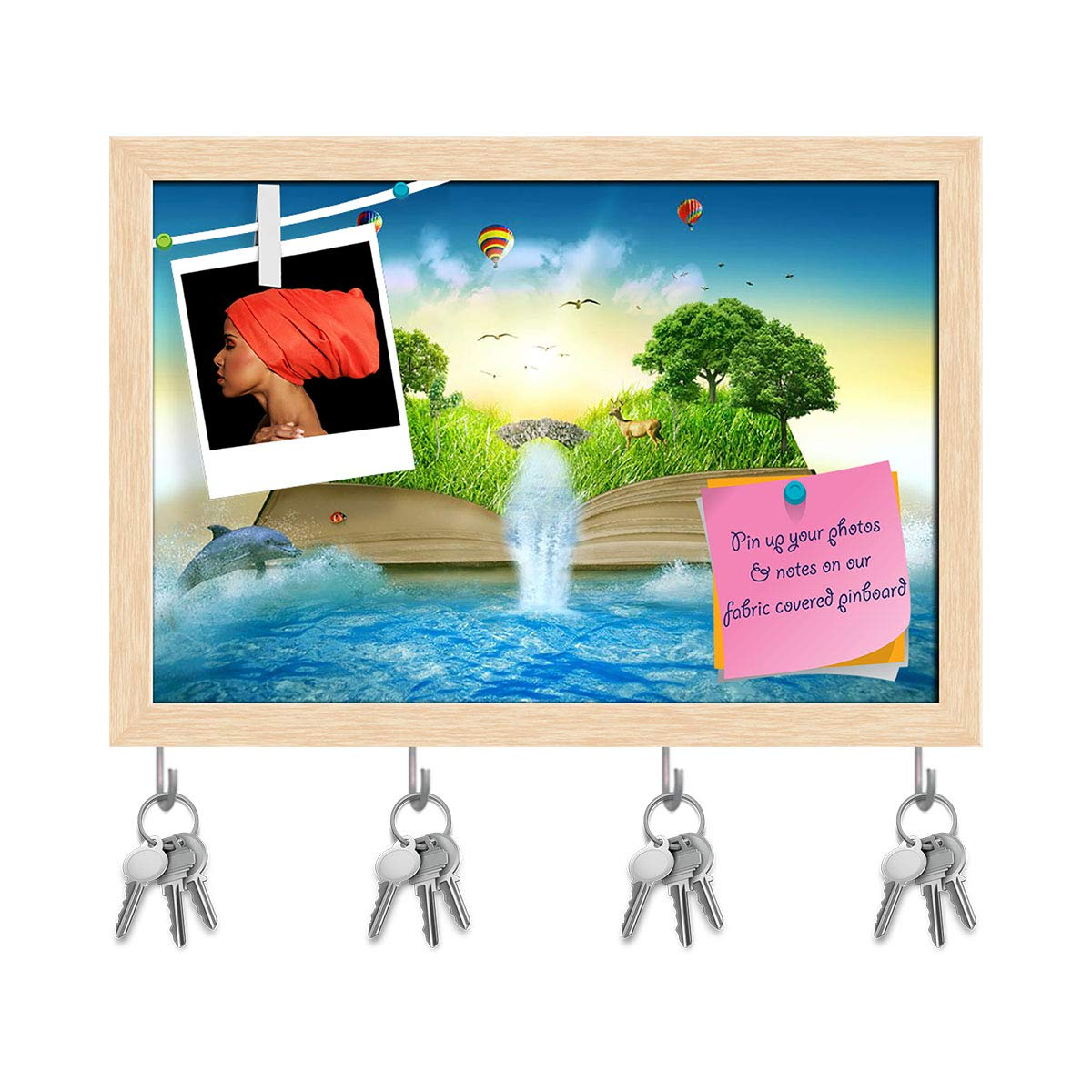 Natural Brown Frame 8.5inch x 6inch (21.6cms x 15.2cms) Artzfolio Magic Book Covered with Grass Trees & Waterfall Key Holder Hooks   Notice Pin Board   Antique golden Frame 17.6 X 12Inch
