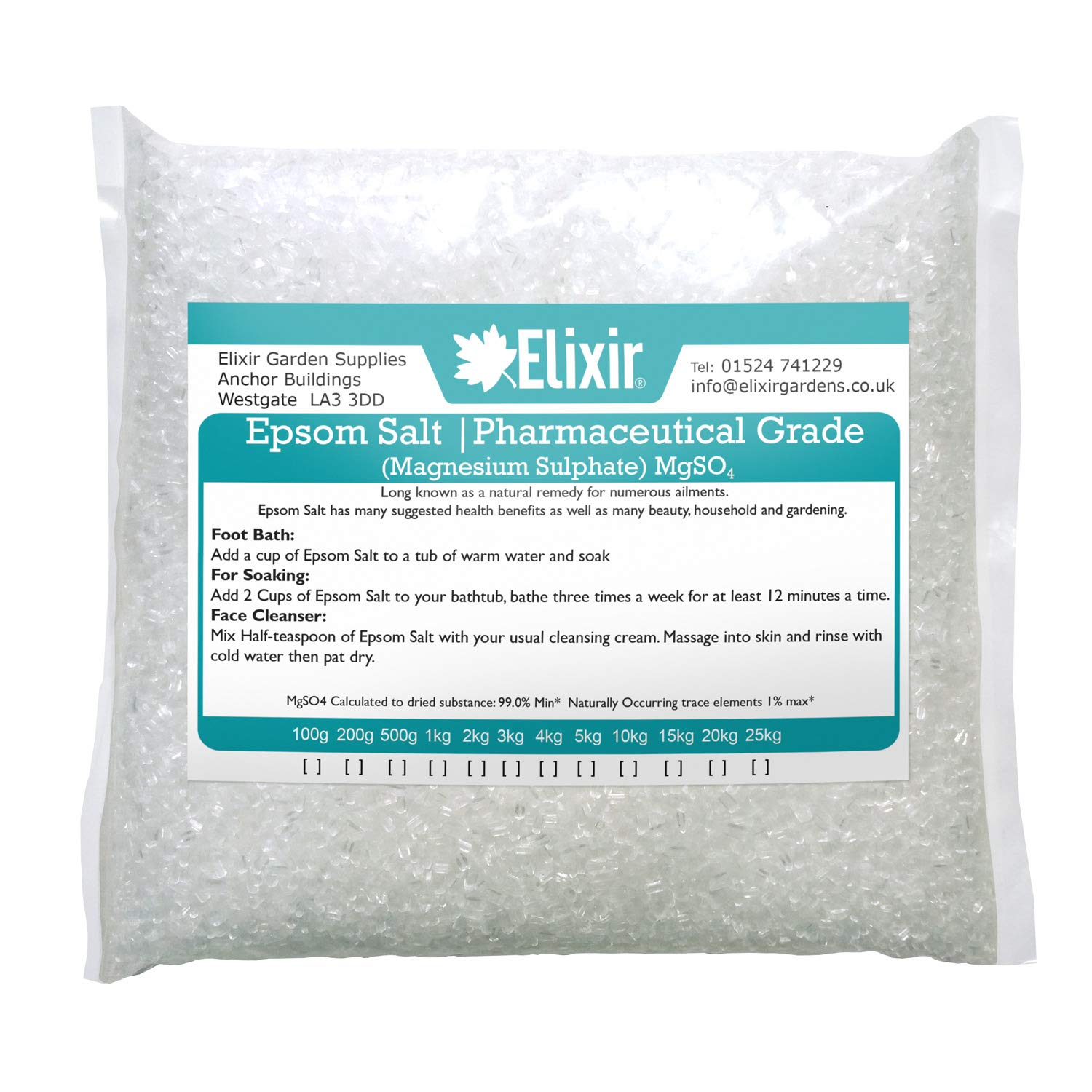 Elixir Gardens Epsom Salt (Pharmaceutical Grade) Supplied in Bag (25kg)