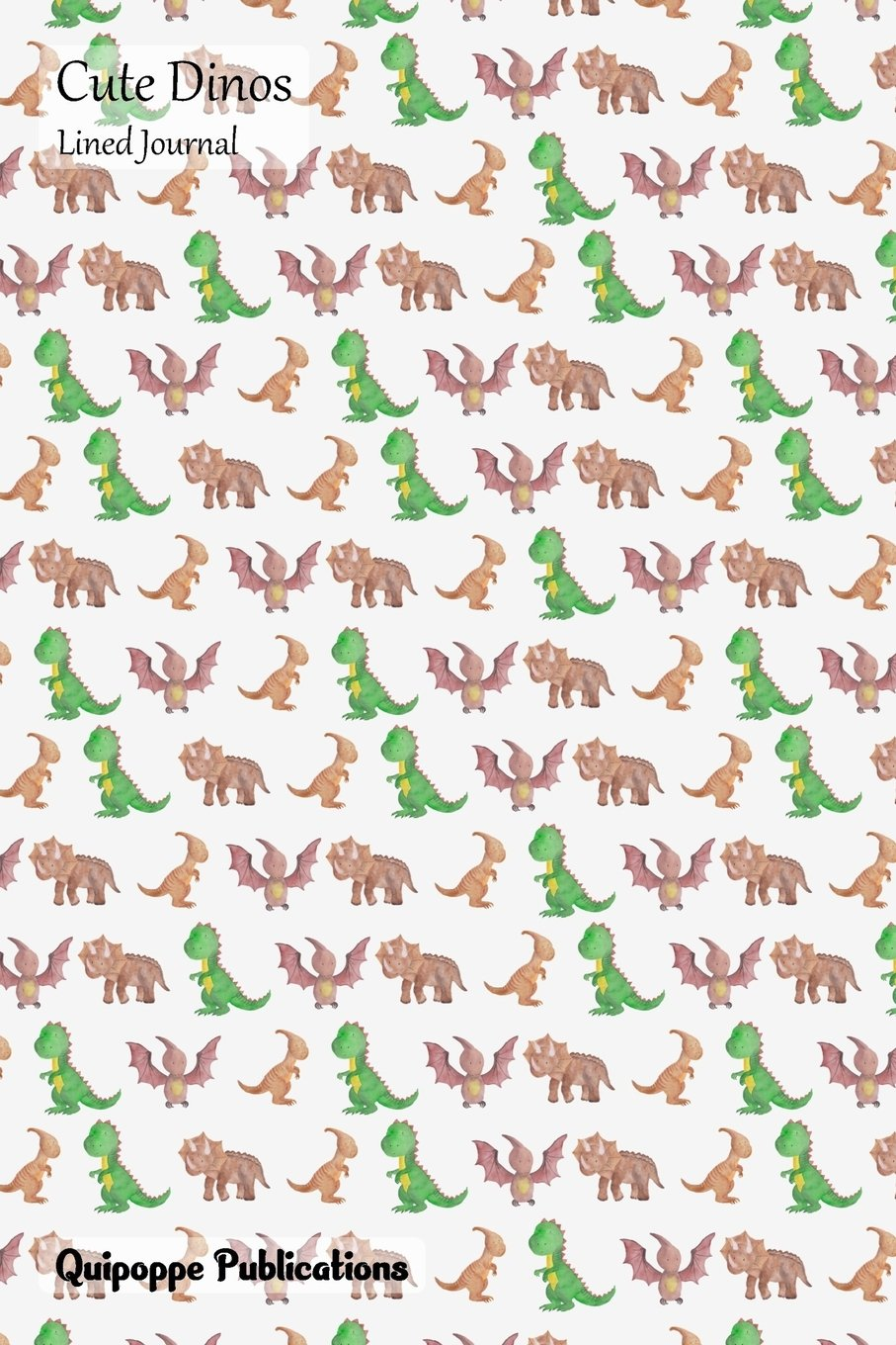 Cute Dinos Lined Journal: Medium Lined Journaling Notebook, Cute Dinos Too Many Dinos Pattern Cover, 6x9
