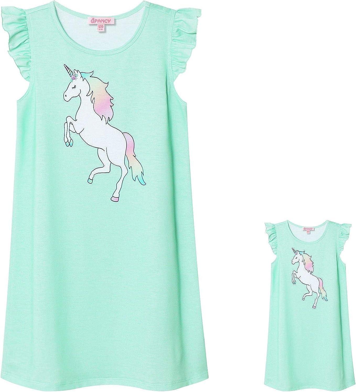 Matching Girls /& 18 Dolls Nightgown Unicorn Nightdress Sleepwear Pajamas