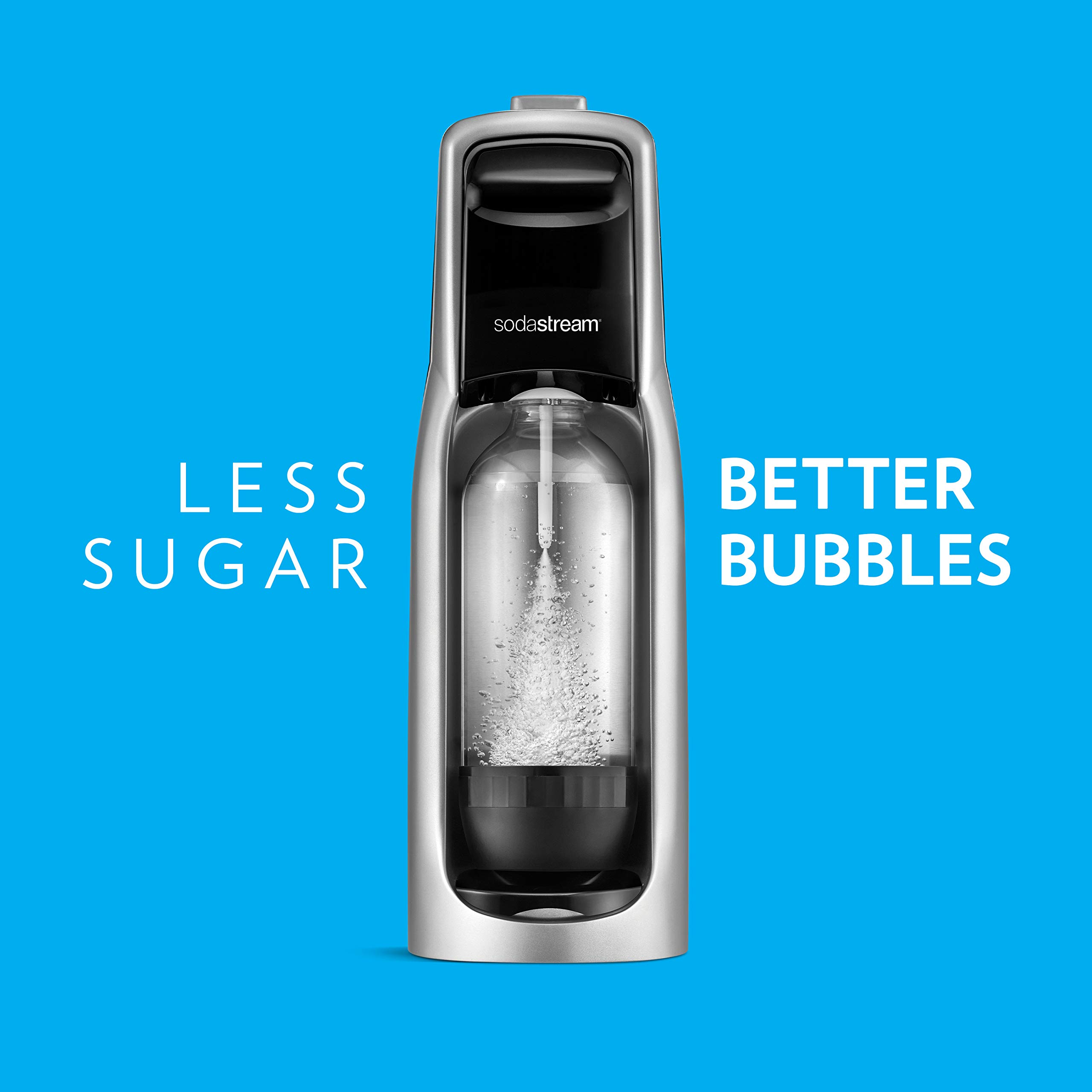 SodaStream Jet Sparkling Water Maker Bundle (Silver) with CO2, BPA free Bottles, and 0 Calorie Fruit Drops Flavors by sodastream (Image #4)