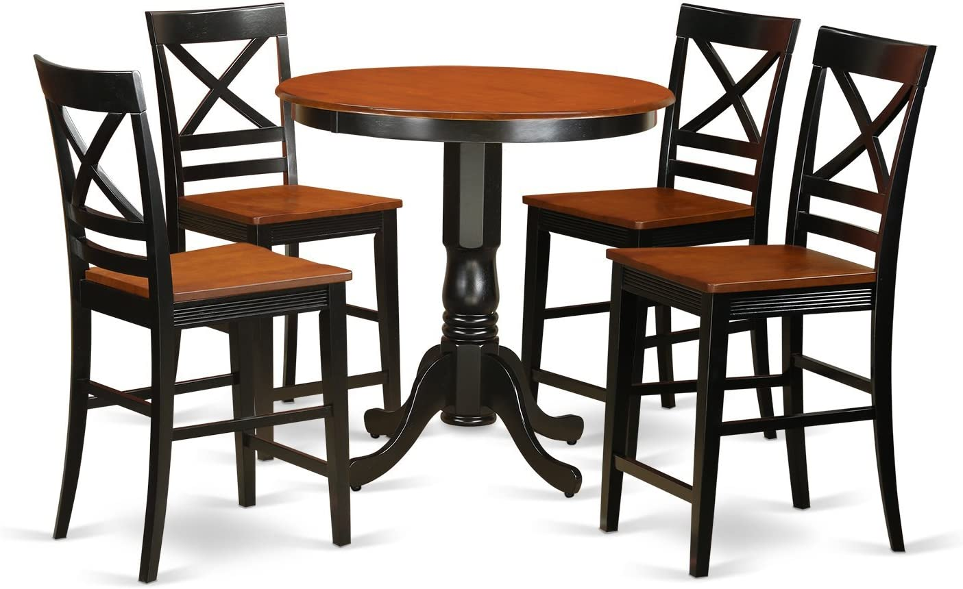 JAQU5-BLK-W 5 Pc counter height Table and chair set – high top Table and 4 counter height stool.