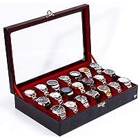 Porta-Relógios Total Luxo Couro Ecológico Preto Vermelho 21 Divisórias