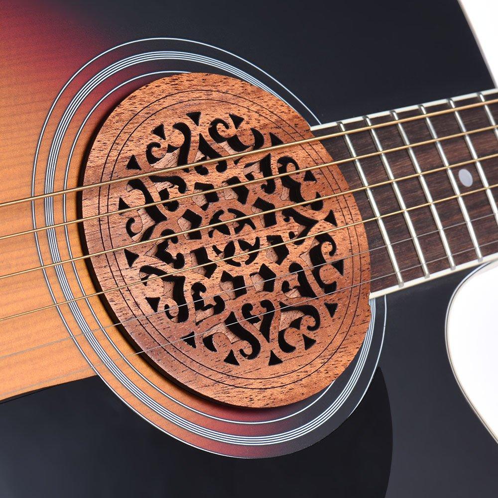 ammoon Guitarra Agujero de Madera Cubierta del Agujero de Sonido Buffer de Realimentación de Bloques Madera de Caoba para EQ Acoustic Folk Guitars: ...