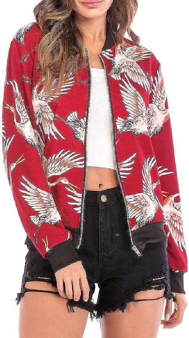 Women Baseball Overcoat Jacket Outwear Printed Cardigan Vogue Coat